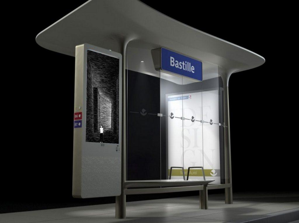 Data art sur 1000 écrans des abribus parisiens avec JCDecaux