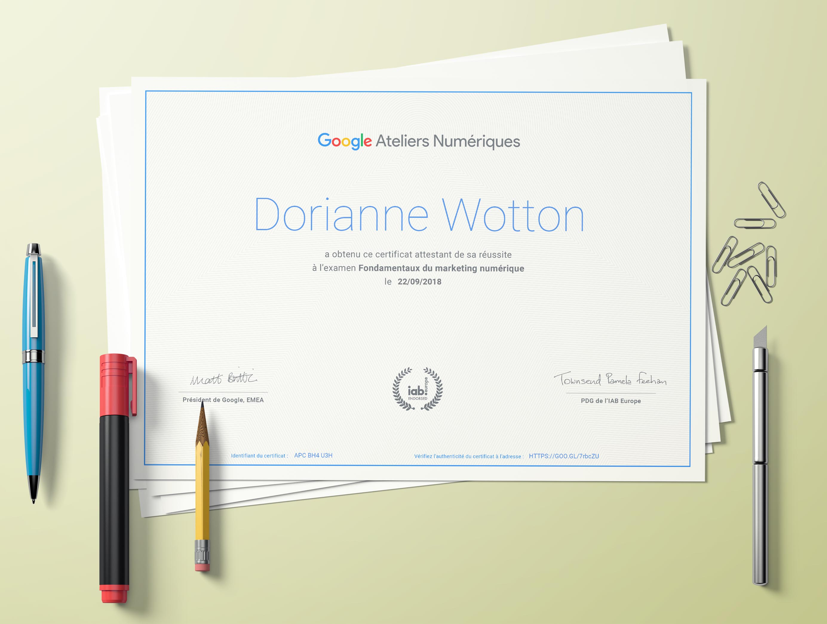 Certification google digital active dorianne wotton