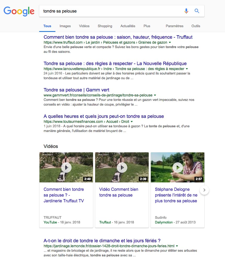 Exemple de recherche google vidéos